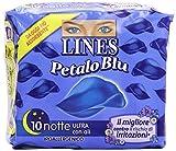 Lines - Assorbenti Petalo Blu, ultra notte con ali, ipoallergenico, il migliore contro il rischio di irritazioni - 10 pezzi