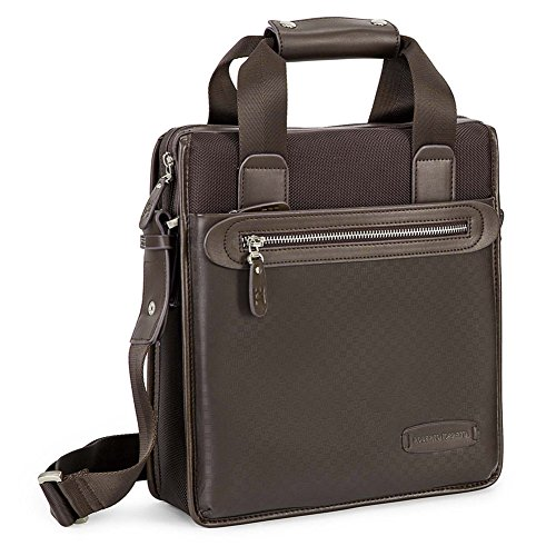 Borsa tracolla, Daniele marrone, in ecopelle, dimensione in cm: 32 l x 27 h x 10 p
