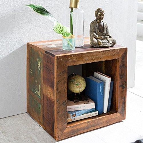 FineBuy Beistelltisch KALKUTTA 45 x 45 x 35 cm | Massivholz Cube Tisch für Wohnzimmer | Wohnzimmertisch mit Ablage | Nachttisch - Nachtkonsole - Nachtkästchen