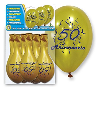 DISOK - Set 8 Balloons Gold '50 Anniversary' - Decorative Balloons, for decoration Cheap. Balloons for Parties, Weddings, Baptisms, Communions Events, Birthdays, Golden Weddings