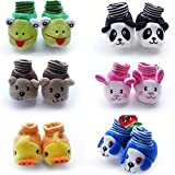 HOME BABY Baby Cotton Cartoon Face Socks Cum Shoes, 0-6 Months (Multicolour) - Set of 1 Pair
