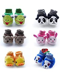 HOME BUY Born Baby Fancy Cartoon Face Socks cum Shoes (Random Design/Color) Set Of 1 Pair