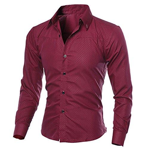 Xmiral Herren Hemden Tops Plaid Printed Bluse Lässige Langarm Slim Shirt Gentleman Arbeitskleidung(XL,Wein Rot) -