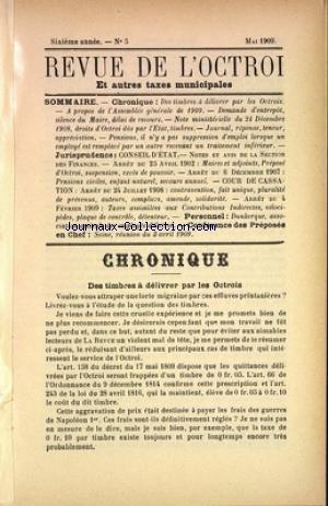 REVUE DE L'OCTROI (LA) [No 5] du 01/05/1909