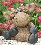 Steinfigur Elch sitzend - Hellbraun, Deko, Figur, Garten, Stein, frostsicher