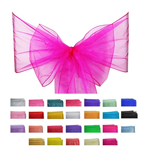 Covering All Occasions 10pcs of Organza Chair Sashes, Fuller Wider Sash, Chair Cover Bows for Wedding Party Events Birthday Décor   26 Colours   Hot Pink