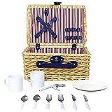 Charles Bentley - Picknick-Set für 2 Personen - Leichter Weidenkorb-Koffer