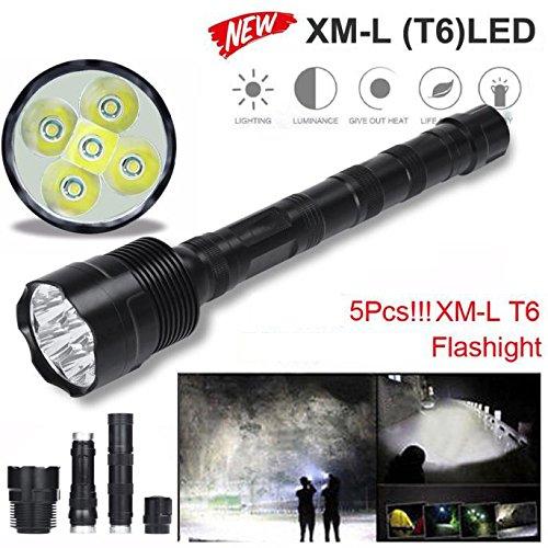 TopTen Fan-Motive LED Taktische Taschenlampe, 5000Lumen 5x T65Modi Super Hell Wasserdicht-Camping Licht für Angeln Jagd Wandern und Outdoor Aktivitäten -