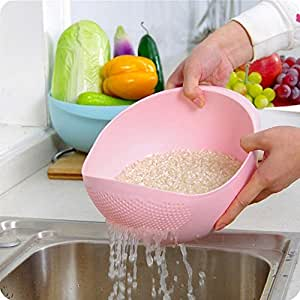 JAPP Plastic Rice Pulses Fruits Vegetable Noodles Pasta Washing Bowl and Strainer (Multicolour)