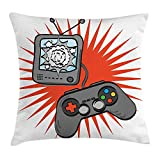askizmdhfjwe Boy's Room Throw Pillow Cushion Cover, Video Games Themed Design in Retro Style Gamepad Console Entertainment, Decorative Square Accent Pillow Case, 18 X 18 Inches, Orange Grey...