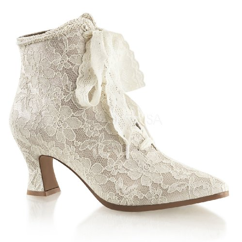 Higher-Heels Fabulicious Ankle-Booties Spitze Victorian-30 Champagne Gr.38 (Niedriger Bootie)