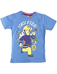 Hit Entertainment Official Licensed Fireman Sam Boys T-Shirt Top Light Blue Age 2 4 6 8 Years