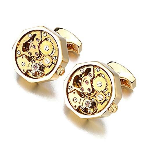THNSIOE Nicht-funktionale Uhr -Bewegung Manschettenknöpfe für Herren verschiebe Edelstahl Dampf -Uhr -Mechanismus Manschettenknöpfe NichtLicht Gelbgold Farbe
