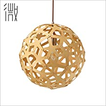 Lustre suspension lustre personnalité créatrice accueil restaurant lounge escalier lumière nordique tête simple fondé une solide ,granulés de bois 50*50cm Lustre