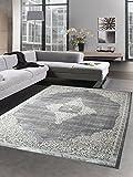 Carpetia Moderner Teppich Kurzflor Wohnzimmerteppich Orient Grau Beige Größe 80 x 300 cm