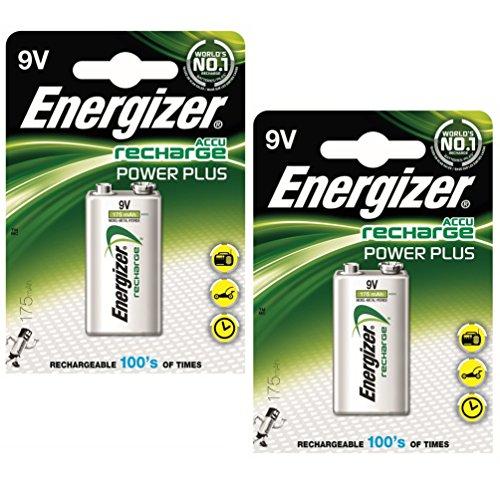 Energizer NiMH-Akkus / Nickel-Metallhydrid-Akkumulatoren, wiederaufladbar, Größe Advanced, 9V, 175mAh, HR22.5V, Ref.-Nr. 633003, 2 Stück (Volt 9 Energizer Wiederaufladbare)