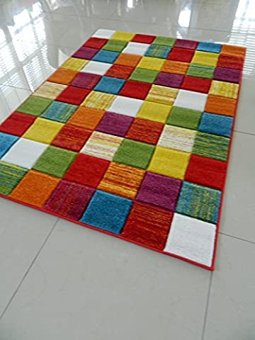 MULTI COLOURED ETCHED SQUARES FUNKY BRIGHT MODERN THICK SOFT HEAVY