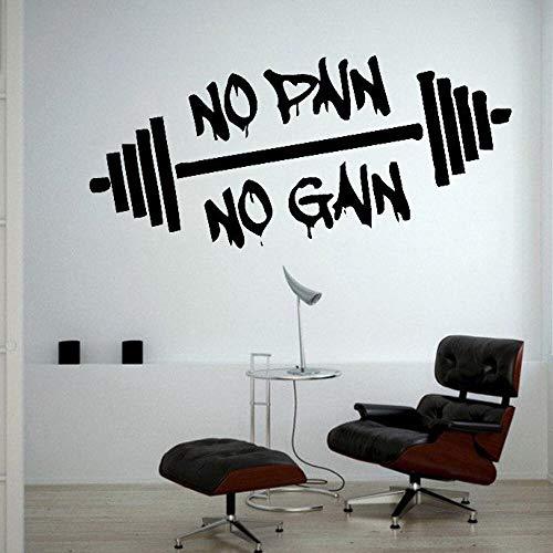 Keine Schmerzen Kein Gewinn Heben Gewichte Training Gym Wandtattoo Bodybuilding Sportunterricht Wand Vinyl Aufkleber Schlafzimmer Dekor 42X19CM