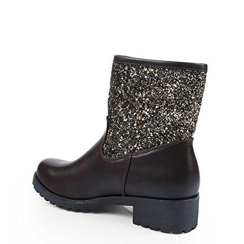 Ideal Shoes - Bottines en similicuir avec partie incrustée de sequins Nastia Marron