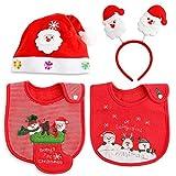 Weihnachten Mädchen Jungen Baby lätzchen Spucktuch Baumwolle Halstücher LED Weihnachts Hüte Mützen Caps Weihnachtsmann Haarreif Haarschmuck für Weihnachtsfeiern Set