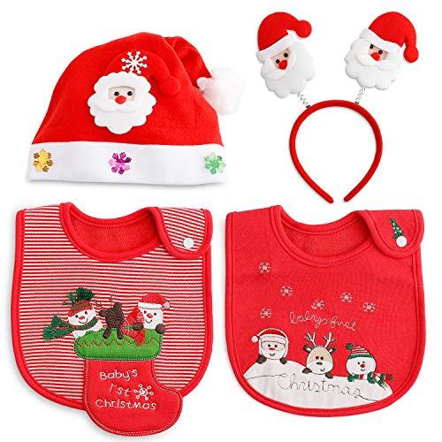 Weihnachten Mädchen Jungen Baby lätzchen Spucktuch Baumwolle Halstücher LED Weihnachts Hüte Mützen Caps Weihnachtsmann Haarreif Haarschmuck für Weihnachtsfeiern Set (Produkte Beliebteste)