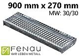 Fenau | Gitterrost-Stufe (R11) XSL – Maße: 900 x 270 mm - MW: 30 mm / 30 mm - Vollbad-Feuerverzinkt – Stahl-Treppenstufe nach DIN-Norm | Fluchttreppen geeignet/Anti-Rutsch-Wirkung