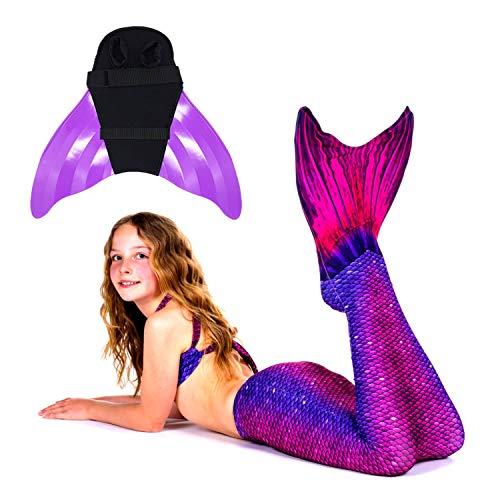 SUN TAILS Premium Meerjungfrauen Flossen Set zum Schwimmen Kostüm Bali Blush Monoflosse Keiki Kinder Nunui Erwachsene M violett