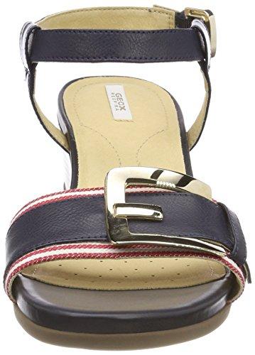 Geox D Marykarmen D, Sandali con Cinturino Alla Caviglia Donna Blu (Navy/white/red)