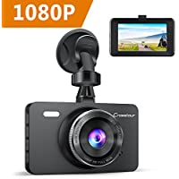 Crosstour In Car Dash Cam Mini 1080P FHD DVR Camera Video Recorder for Cars 170° Wide Angle WDR 3 Inch LCD Screen with Motion Detection Loop Recording and G-sensor