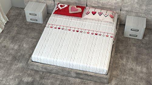 comprare on line Completo Lenzuola in 100% Cotone Per Letto Matrimoniale 2 Piazze 4 Pezzi Modello Cuor di Lana Rosso prezzo