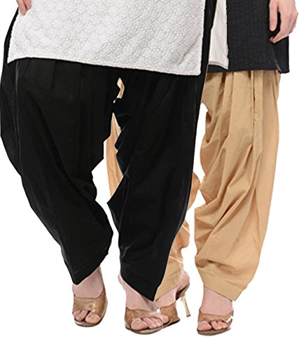 NGT Beige And Black Pure Cotton Patialas For Womens