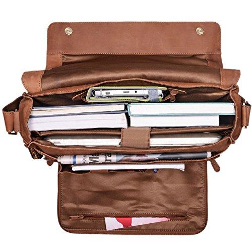 STILORD 'Jan' 15,6 Zoll Laptoptasche Leder Herren Damen Umhängetasche Unitasche Aktentasche Freizeit Bürotasche weiches Vintage Leder, Farbe:sattel - braun sattel - braun