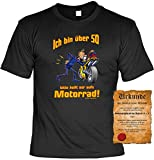 Geile-Fun-T-Shirts Biker T-Shirt mit über 50 aufs Motorrad Shirt 4 Heroes Geburtstag Geschenk Geil Bedruckt mit Urkunde