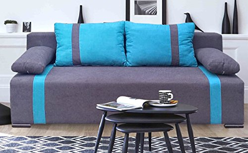 Couch mit Schlaffunktion und Bettkasten Sofa Schlafsofa Wohnzimmercouch Bettsofa Ausziehbar SELA (Grau + Blau)