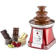 oneConcept fontana di cioccolato elettrica cioccolatiera a cascata 3 livelli (32W, 3 ripiani, capacità 350 grammi di glassa, dispositivo per fonduta al cioccolato, acciaio inox) - rossa