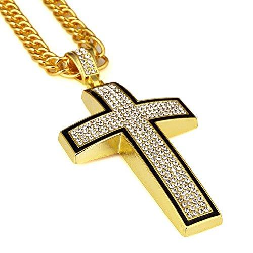 Nyuk - Collana originale da uomo con ciondolo, hip hop, vero argento placcato  oro 18 K,  motivo: Croce cristiana, base placcata in oro, colore: Gold, cod. W-1766 - 14k Oro Jade Stud