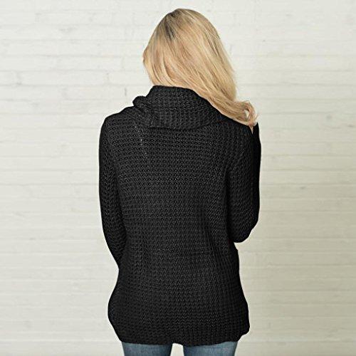 Amuster Femmes manches longues Sweatshirt solide Pull Tops Blouse Shirt Noir
