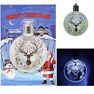 Shatchi 11888A-LED-ORNAMENT-REINDEER 3D muñeco de nieve LED Oprated Árbol de Navidad colgante bolas de decoración adornos Navidad regalos (batería incluida), Multi