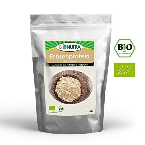 BioNutra Erbsenprotein Bio 1000g, 82% Proteingehalt, feingemahlenes Pulver, veganes Proteinisolat aus kontrolliert biologischer Herstellung