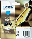 Epson Cartucho 16XL cian - Cartucho de tinta para impresoras (Cian, Epson WF-2010W/WF-2510WF/WF-2520NF/WF-2530WF/WF-2540WF, Inyección de tinta, Alto rendimiento (XL), 1 pieza(s), 14,2 cm)