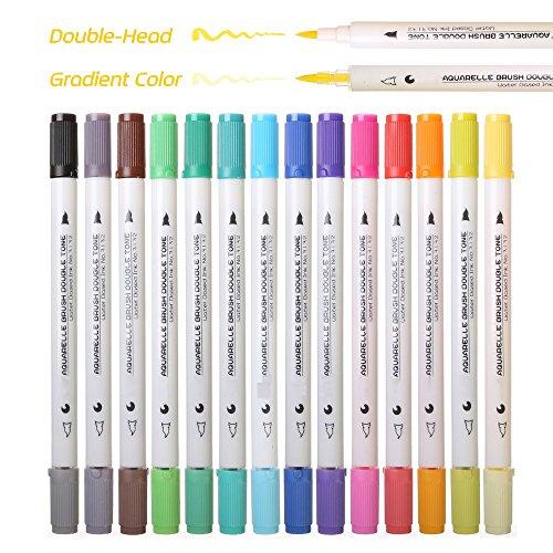 WCOCOW Pinselstift Set- 28 Farben,14Pcs, Steigung Dual Spitze Watercolor Pinsel Stift auf Wasserbasis Marker für Skizzen, Malerei und Farben (Machen Sie Ihre Eigenen Karten-set)
