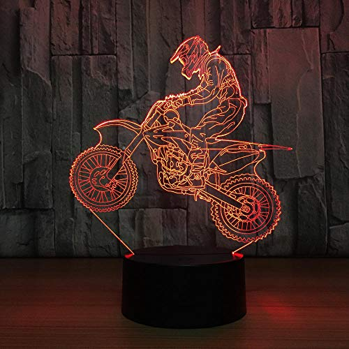 Nachtlicht Für Kinder Moto-Cross 3D Lampe Nachttischlampe 7 Farbwechsel Weihnachten Halloween Geburtstagsgeschenk Spielzeug Für Kind Baby Boy