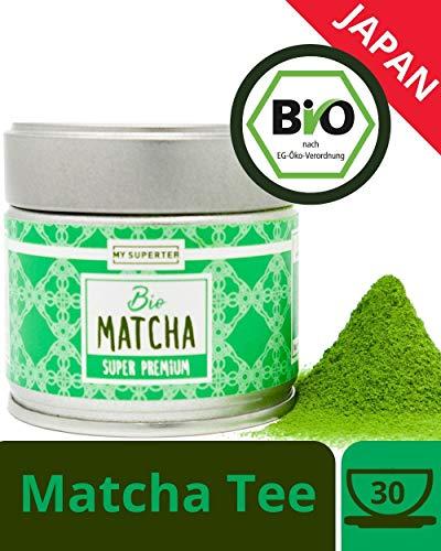 Bio Matcha Pulver - PREMIUM GRADE | original Matcha aus Japan für langanhaltende Energie und hohe Konzentration an Antioxidantien | Spitzen Matcha mit mild reichhaltigem Aroma | MY SUPERTEA | 30g