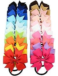OULII Lazos cuerda anillo diademas bandas diademas accesorios para el cabello para bebé niñas niños niños niños mujeres y adolescentes Pack de 20 (20 colores)