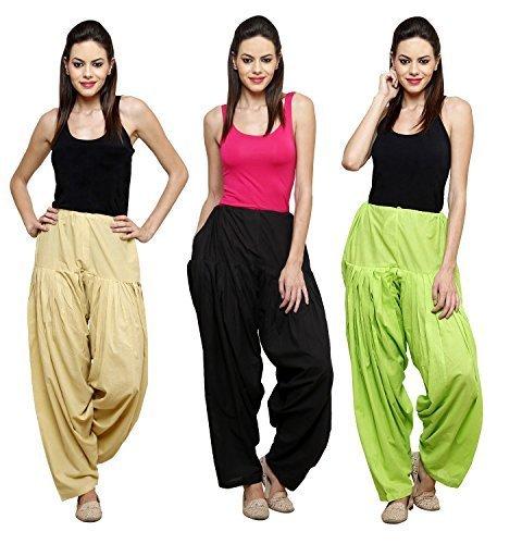 Fashion Store Women Cotton Patiala Salwar Combo Of 3 (Free Size, Skin & Parrot Green & Black )