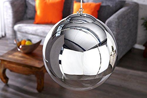 Große Design Hängelampe GLOBE 40cm Glas chrom Kugelleuchte - 8