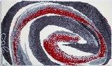 Grund COLANI Exklusiver Designer Badteppich 100% Polyacryl, ultra soft, rutschfest, ÖKO-TEX-zertifiziert, 5 Jahre Garantie, Colani 42, Badematte 70x120 cm, grau-rot