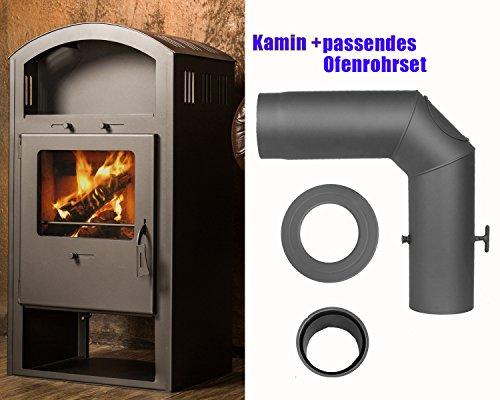 Kaminofen Scandia Ivona 6,0 kW mit passendem, hochwertigem 3-tlg. Ofenrohrset (BAUPROFI) Grau/Gussgrau