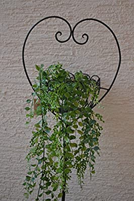 Gartenstecker -hübscher Pflanzstab - Meisenknödelhalter- aus Metall mit Korb in Herzform für den Garten, Höhe 115 cm, Breite 29 cm, stabile Ausführung, von gerren bei Du und dein Garten