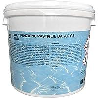 Cloro Multifunzione, Pastiglie 200 g Cloro Polifunzione Dicloro, Alghicida, Flocculante per Acqua Piscina kg 5